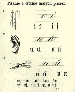 písané písmo používané na Slovensku v 19. storočí s ilustráciami pre deti